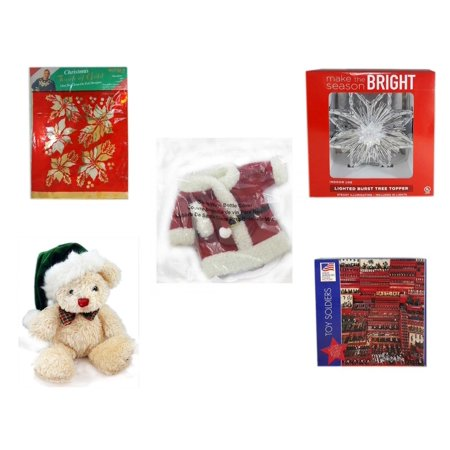 Avon Santa - Christmas Fun Gift Bundle [5 Piece] -  Touch of Gold 1-Step Iron-On Foil Poinsettias - Deck The Halls Lighted Burst Silver Tree Topper - 2011 Avon Santa Outfit Wine Bottle Cover  - Dan Dee  Teddy Be