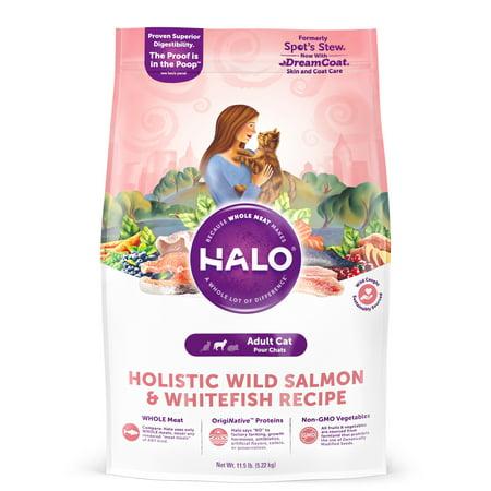 Halo Natural Dry Cat Food, Wild Salmon & Whitefish Recipe, 11.5-Pound