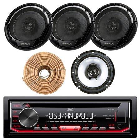 JVC KDR490 Car Radio USB AUX CD Player Receiver - Bundle Combo With 4x Kenwood KFC1665S 6.5
