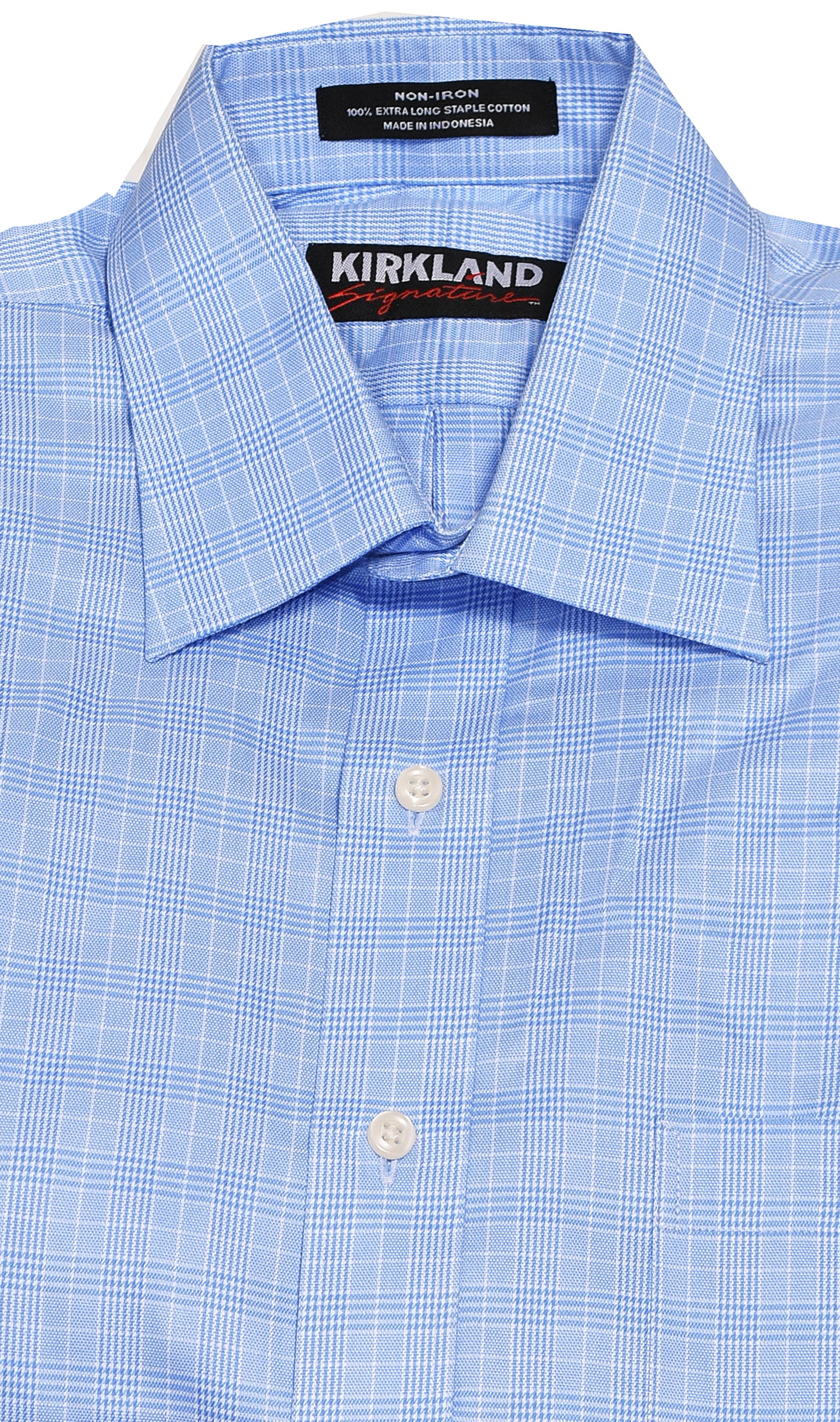 Kirkland Mens Non-Iron Stain Resistant Spread Collar Dress Shirt ...