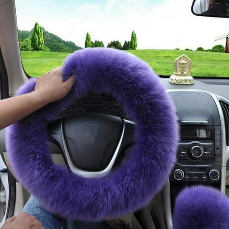 "3pcs/Set Car Winter Furry Steering Wheel Cover + Gear Knob Shifter Parking cardecor Brake Cover 14.2"""