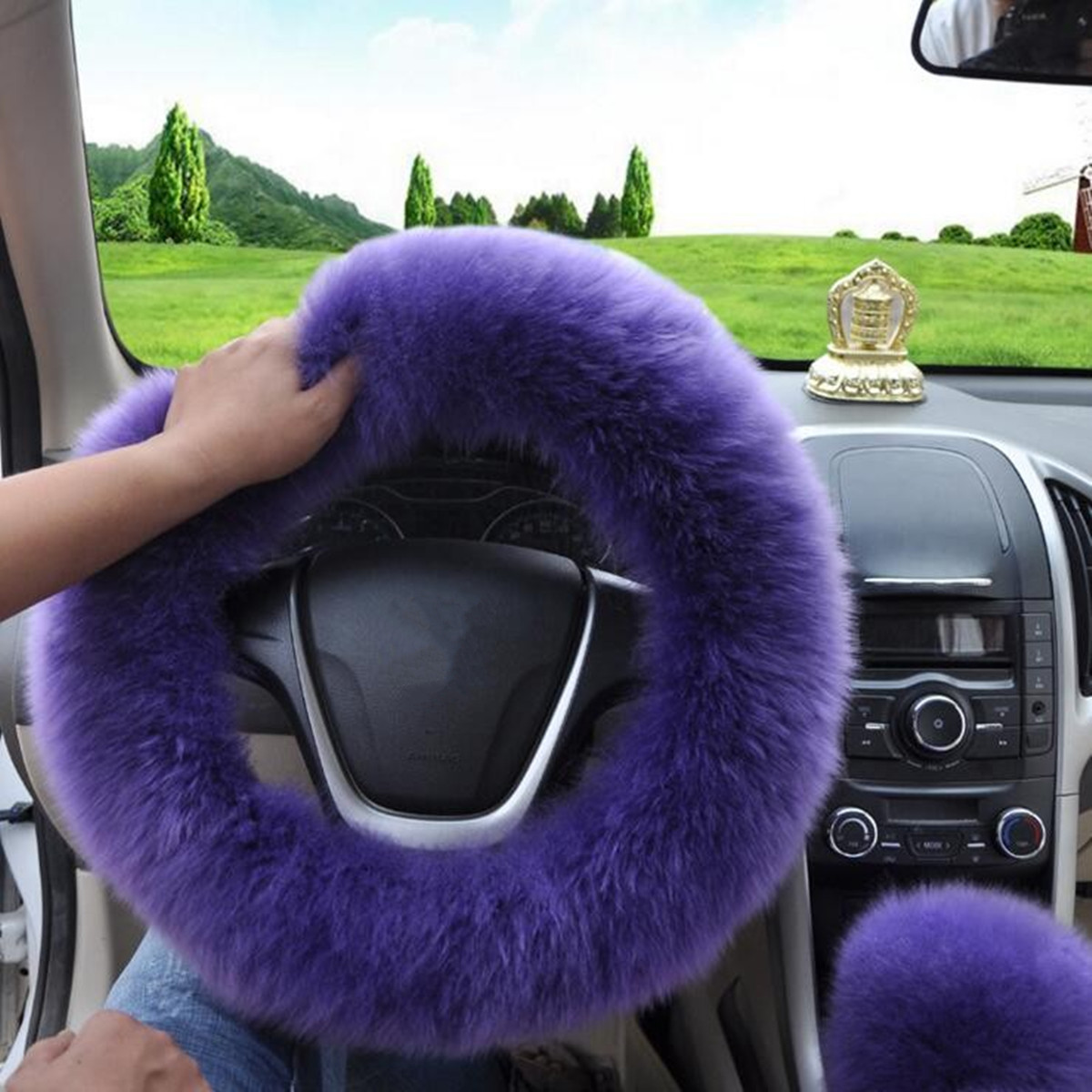 3pcs Auto Car Furry Steering Wheel Cover Set Fashion Car Accessories Decor Gift Winter Warm