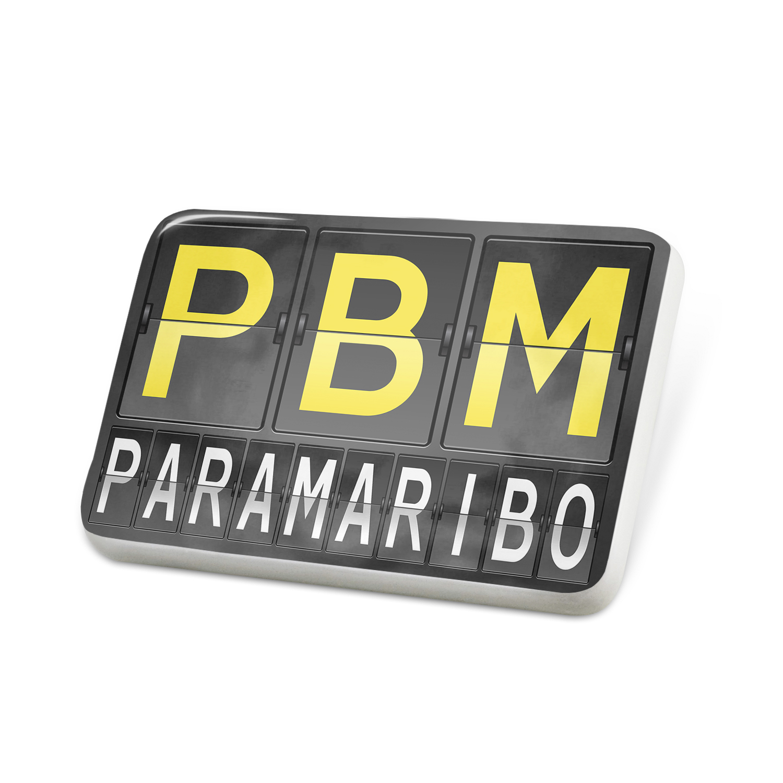Porcelein Pin PBM Airport Code for Paramaribo Lapel Badge – NEONBLOND