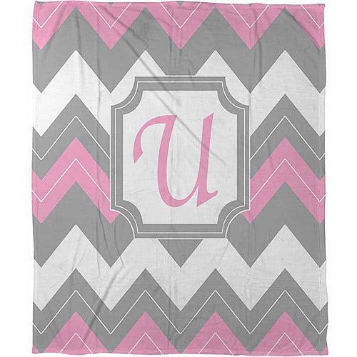 """Thumbprintz Chevron Monogram Pink U Coral Fleece Throw, 30"""" x 40"""""""