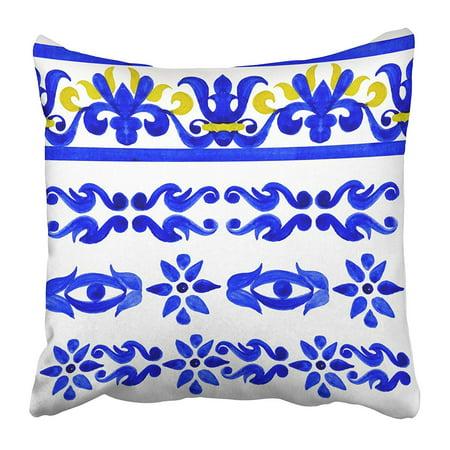 ARHOME Blue Talavera Portuguese Azulejo Tiles Watercolor White Arabesque Ceramic Mexican Pillow Case Cushion Cover 20x20 (Mexican Talavera Ceramic Tile)