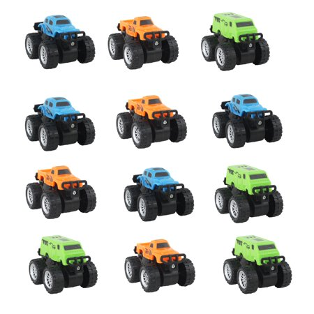 12 PCS Monstertruck Assorted Color Small Scale Vehicles, Great for Theme Parties, Gifts, Party Favors, Goodie Bags and More! - Themes Parties