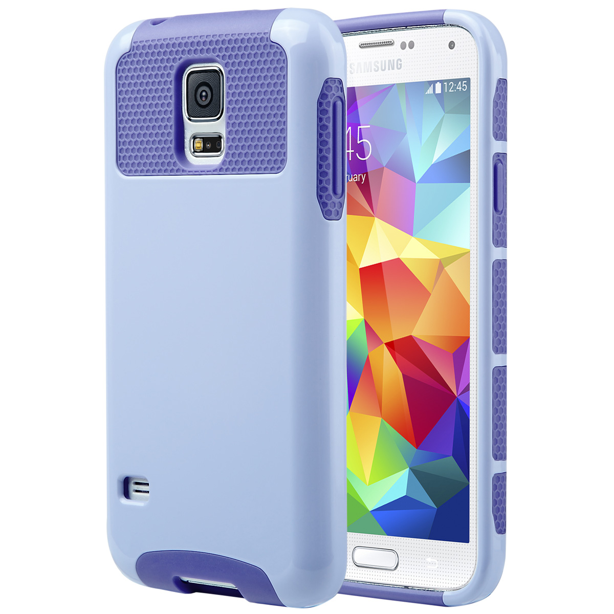 Galaxy S5 Case, S5 Case, ULAK Dual Layer Slim Hybrid Protective Case Cover for Samsung Galaxy S5 SV i9600 [Plastic Hard Shell and Flexible TPU] - (Light Purple/Purple)