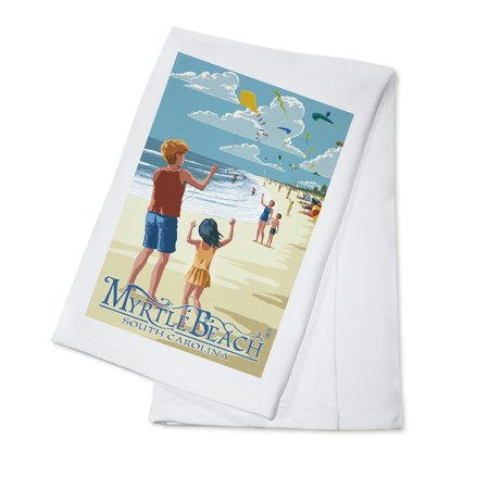 Kite Flyers - Myrtle Beach, South Carolina -  Lantern Press Poster (100% Cotton Kitchen Towel)