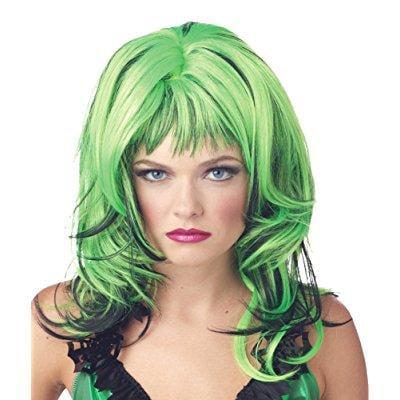 costume-wig hard rockin witch black green halloween costume - 1 - Halloween Trivia Hard