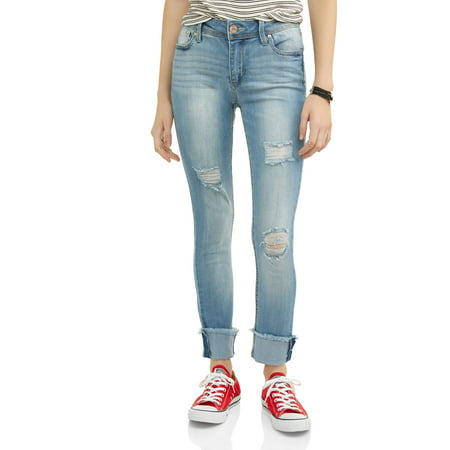 Destructed Womens Jeans (Juniors' Destructed Rolled Cuff Crop Jeans )