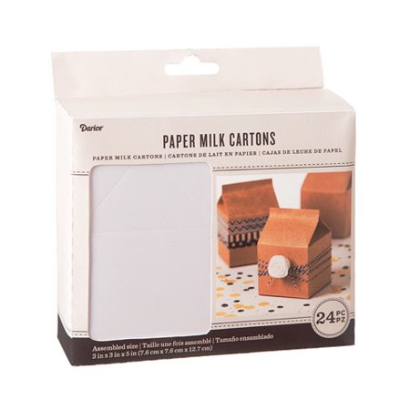 White Paper Milk Cartons: 3 x 5 inches, 24 pieces