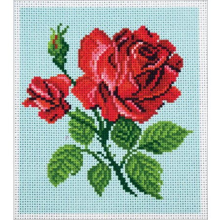 Collection D'Art Stamped Cross Stitch Kit, 20cm x 22cm, Red Rose - Just Cross Stitch Halloween Collection 2017