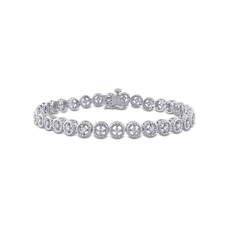 - 1 Carat T.W. Diamond Sterling Silver Halo Tennis Bracelet, 7