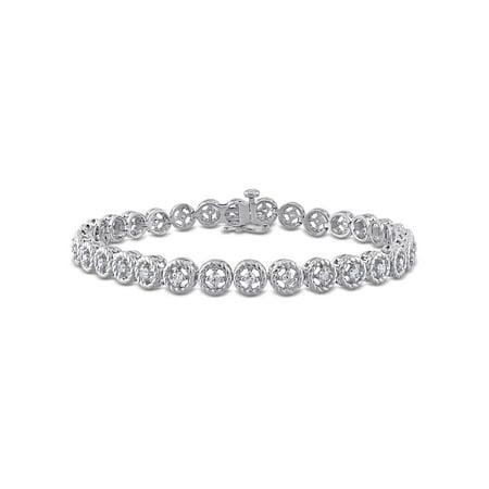 Silver Circular Bracelets - Miabella 1 Cttw Diamond Sterling Silver Tennis Bracelet, 7