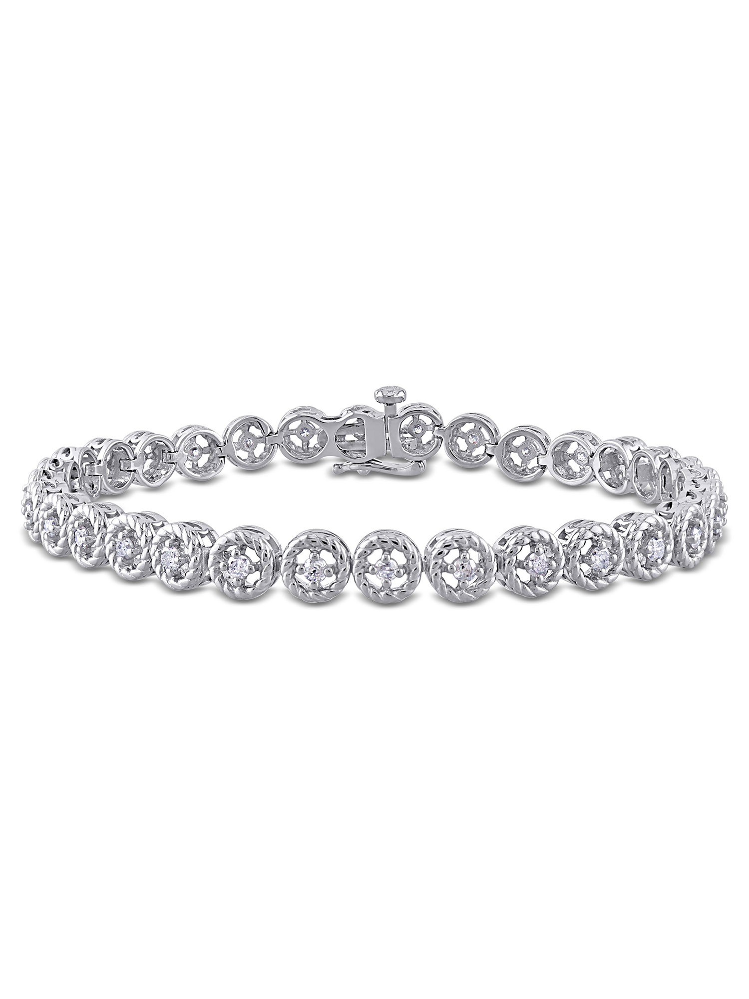 "Miabella 1 Cttw Diamond Sterling Silver Tennis Bracelet, 7"""