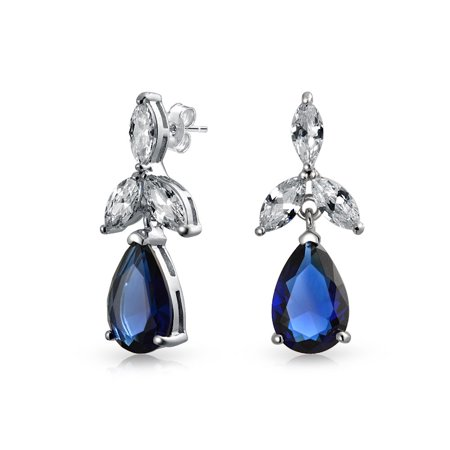 Cubic Zirconia Blue Large Teardrop CZ Prom Pageant Statement Dangle Earrings Simulated Sapphire925 Sterling Silver ()