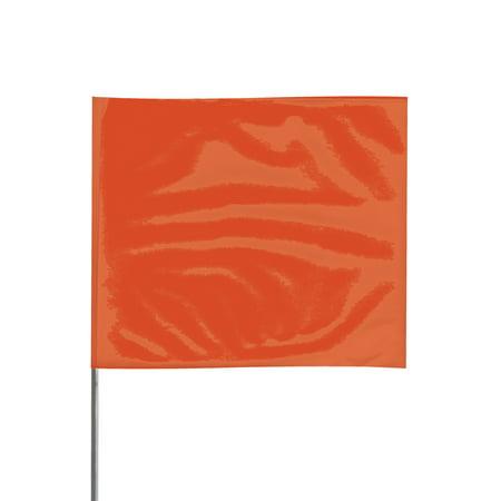 Presco Steel Wire Staff Marking Flags: 2-1/2 in  x 3-1/2 in  Flag / 15 in   Steel Wire (Orange) [1 Pack of 12 Flags]