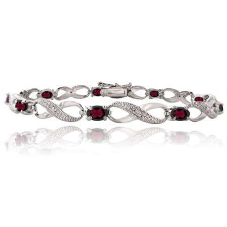 2.50ct Garnet & Diamond Accent Infinity Bracelet in Silver Tone Diamond Accent Garnet Bracelet