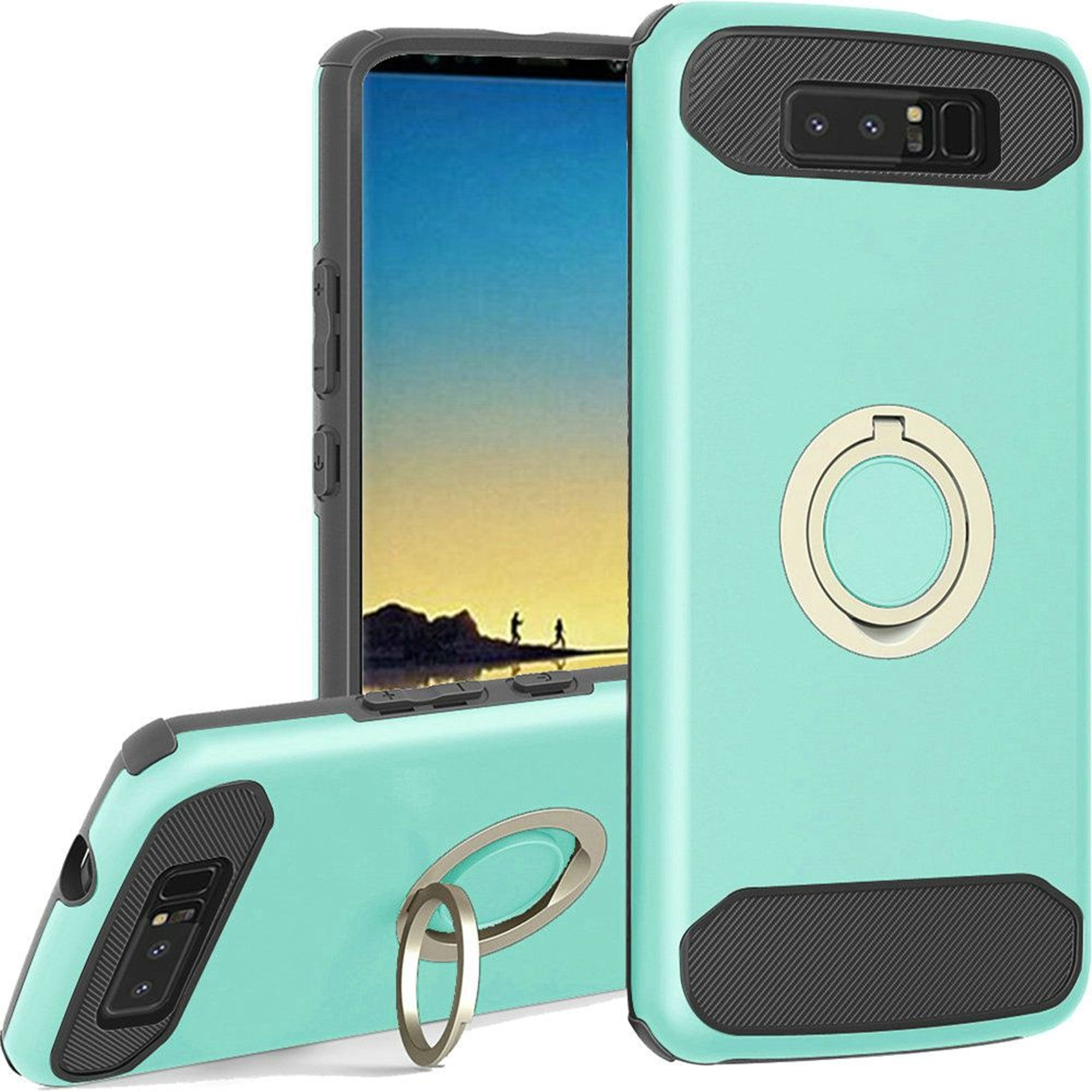 HR Wireless Dual Layer [Shock Absorbing] Hybrid Ring stand Hard Snap-in Case Cover For Samsung Galaxy Note 8, Teal/Black