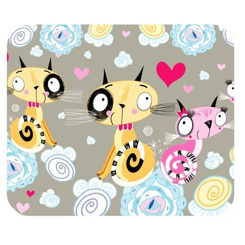 MKHERT Seamless of Loving Cats Rectangle Mousepad Mat For Mouse Mice Size 9.84x7.87 inches