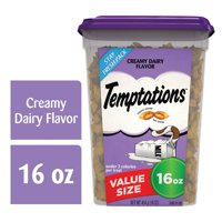 TEMPTATIONS Classic Crunchy and Soft Cat Treats Creamy Dairy Flavor, 16 oz. Tub