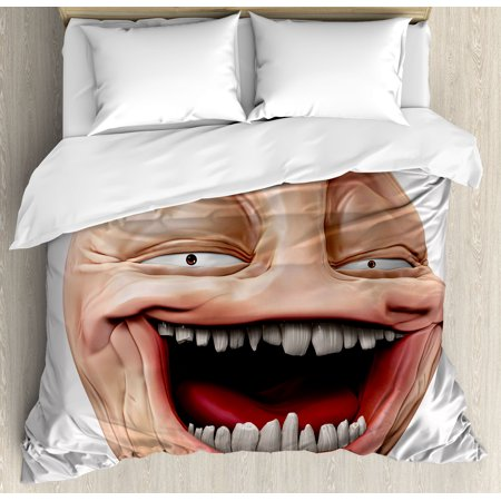 Humor Decor King Size Duvet Cover Set, Poker Face Guy Meme Laughing Mock Person Smug Stupid Odd Post Forum Graphic, Decorative 3 Piece Bedding Set with 2 Pillow Shams, Peach Pearl, by Ambesonne Peaches Mock Wrap