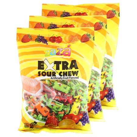 Zaza Extra Sour Chewy Kosher Candy (Small) 3 Packs
