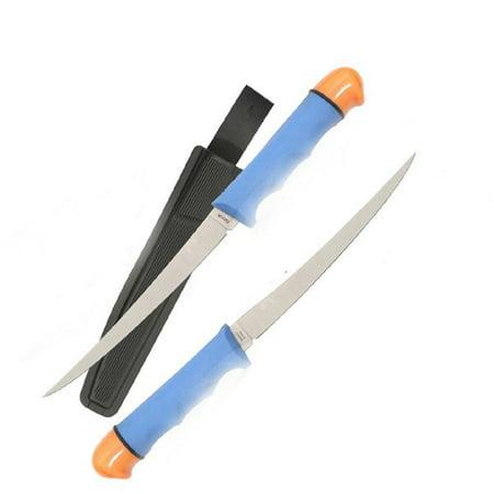 Joy Enterprises FP74413 Fury Skipper Filet Knife, Blue Polycarbonate Handle with Orange Tip, (Wood Handle Fillet)