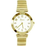 Geneva Womens Gold Tone Round Stretch Watch One Size Gold tone
