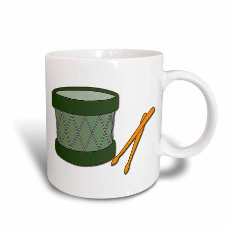 3dRose Holiday Drum And Sticks, Ceramic Mug, 15-ounce