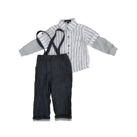Infant Boys Dress Up Outfit Striped Woven Shirt & Pants with - Wendy Outfit