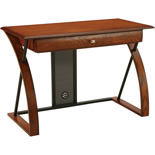 Office Star Products Aurora Computer Desk, Medium Oak with Black Accents