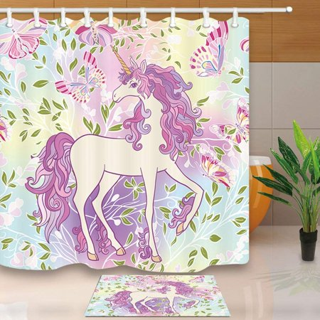 BPBOP Fairy Tale Bath Curtain Set Girl Unicorn in Butterfly RainBow for Child Shower Curtain 66x72 inches with Floor Doormat Bath Rugs 15.7x23.6 inches - Girls In Shower