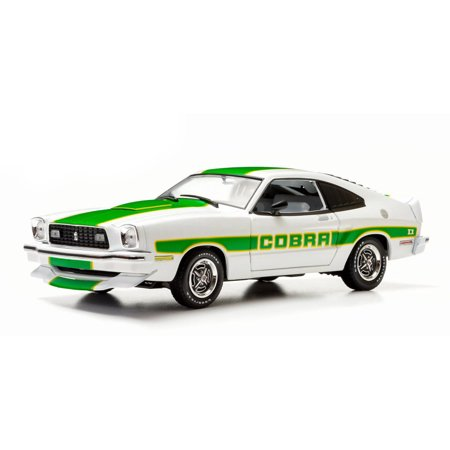1978 Ford Mustang II Cobra II, White w/ Green Stripes - Greenlight 12895 - 1/18 Scale Diecast Model Toy Car 94 Ford Mustang Cobra Model