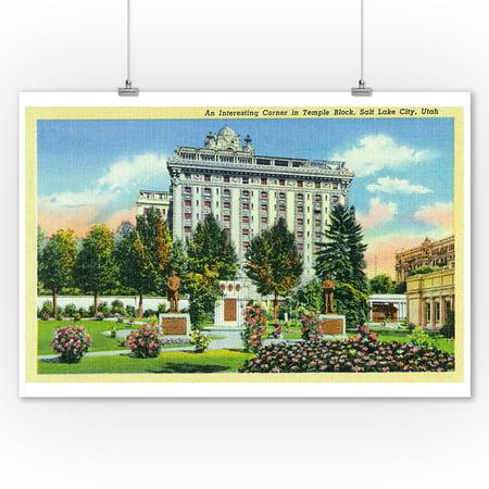 Salt Lake City, Utah - Scenic Corner in Temple Block View (9x12 Art Print, Wall Decor Travel Poster)](Costume Shops In Salt Lake City)