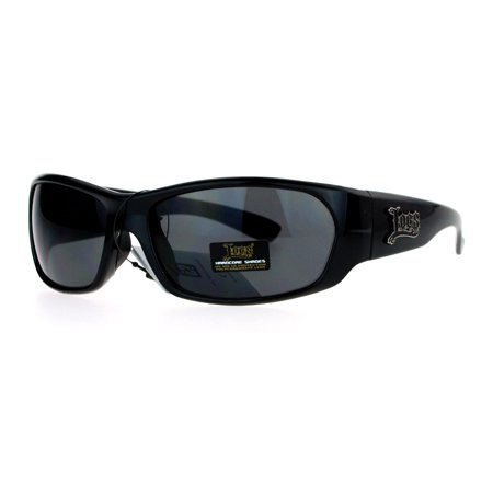 Locs All Black Classic Cholo Gangster Warp Biker Sunglasses Shinny (Locs Mens Cholo Biker Sunglasses)