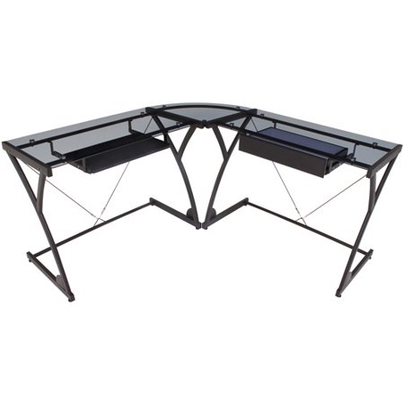 Regency Seating Glass Computer Corner Desk Black