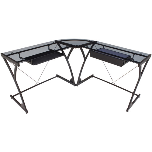 Regency Seating Glass Computer Corner Desk, Black