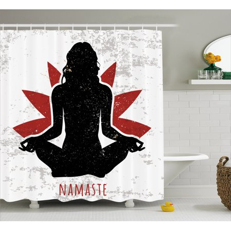 Yoga Shower Curtain  Grunge Display Woman In Lotus Pose With The Flower Backdrop Rejuvenation Namaste  Fabric Bathroom Set With Hooks  69W X 70L Inches  Black Red White  By Ambesonne