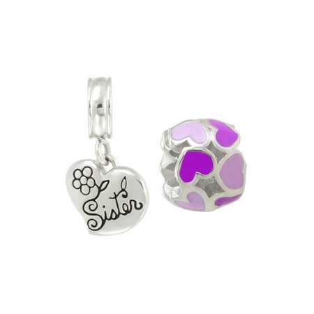 Stainless Steel Enamel Heart Charm and Sister Dangle Charm Set
