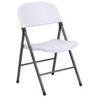 Flash Furniture 2 Pk. HERCULES Series 330 lb. Capacity Granite White Plastic Folding Chair with Charcoal Frame