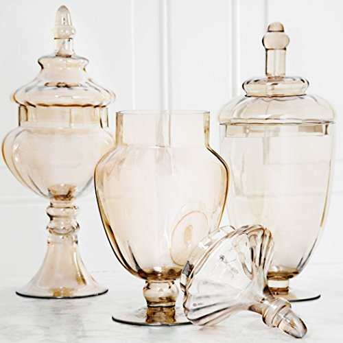 Palais Glassware Glass Apothecary Jars - Set of 3 - Wedding Candy Buffet Cont...