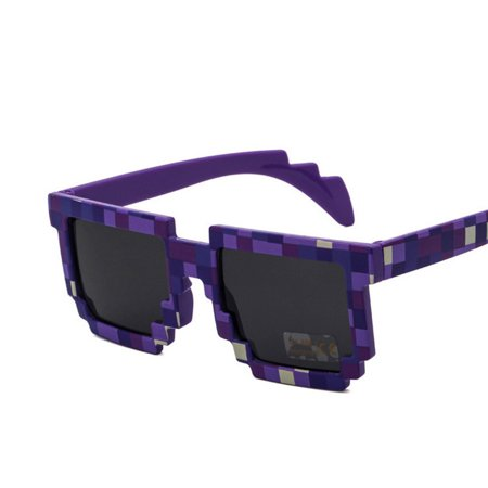 Unisex Fashion Novelty Square Mosaic Sunglasses Lenses Color:Purple
