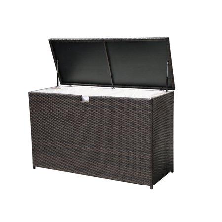 Outdoor Patio Aluminum Frame Wicker Cushion Storage Bin Deck Box, Espresso Brown ()