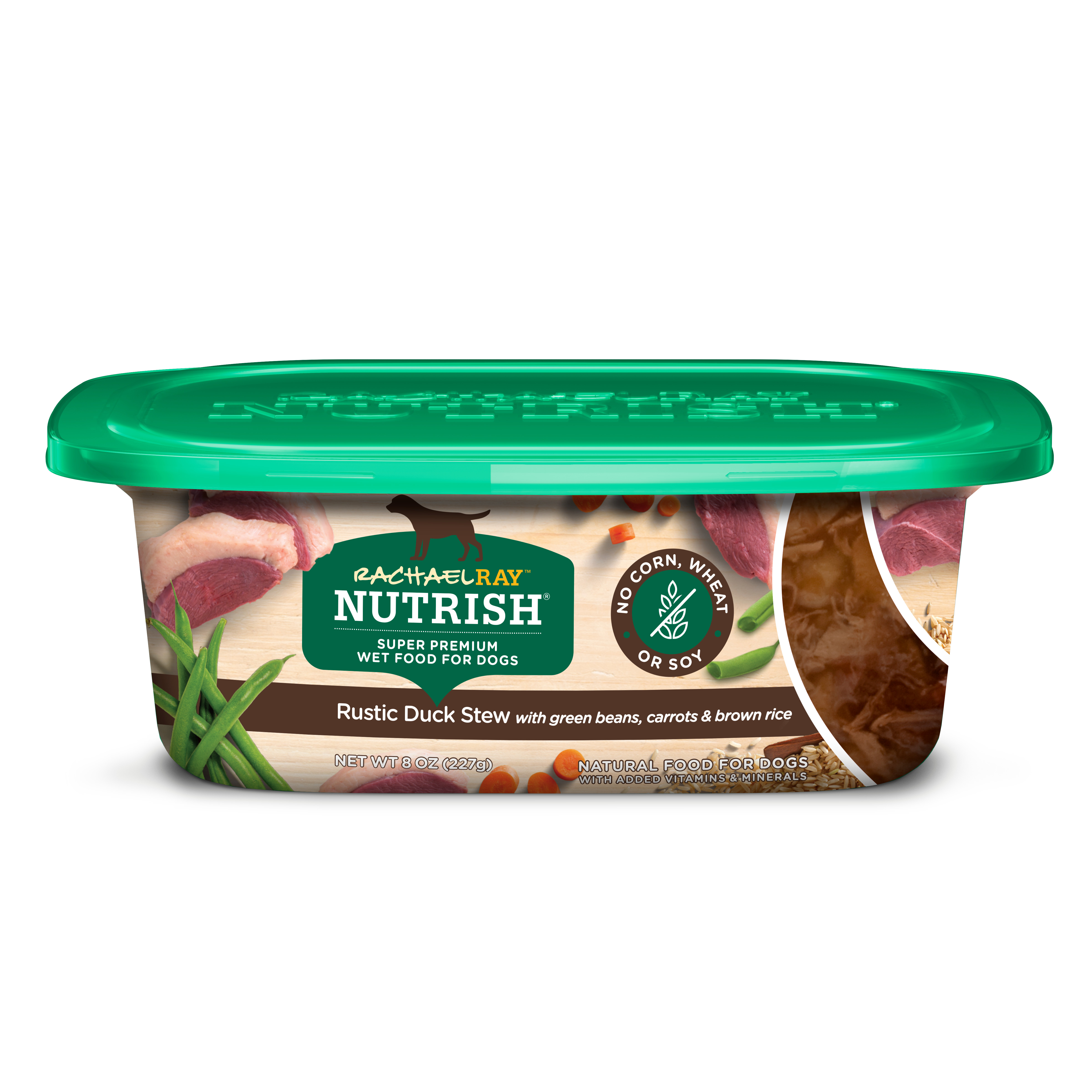 (8 Pack) Rachael Ray Nutrish Natural Wet Dog Food, Rustic Duck Stew with Green Beans, Carrots & Brown Rice 8 oz tub