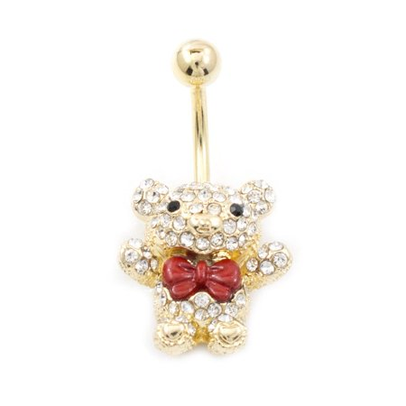 Navel Ring with Teddy Bear Design with Red Bow and Multiple Cz 14G Gold IP