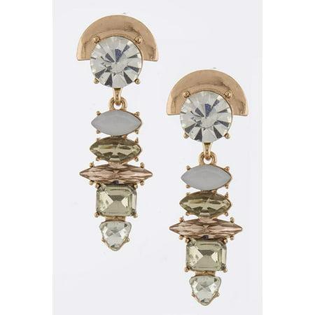 Copper Crystal Earrings - Prong Set Beige & Crystal Jewel Drop Post Back Earrings with Copper Tone Detail