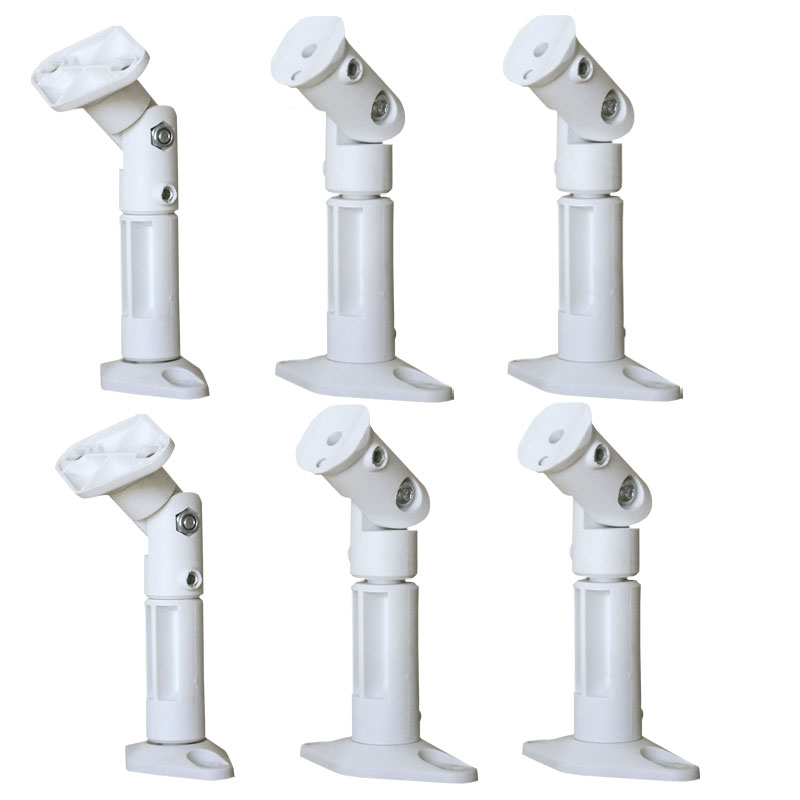 VideoSecu 6 Packs of Universal Satellite Speaker Mount Wall/ Ceiling Home Theater Surround Sound Bracket White Color 1NA
