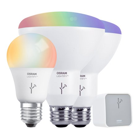 (Sylvania Lightify Starter Kit with Gateway, 2 LED BR30 Bulbs, & 1 LED A19 Bulb)