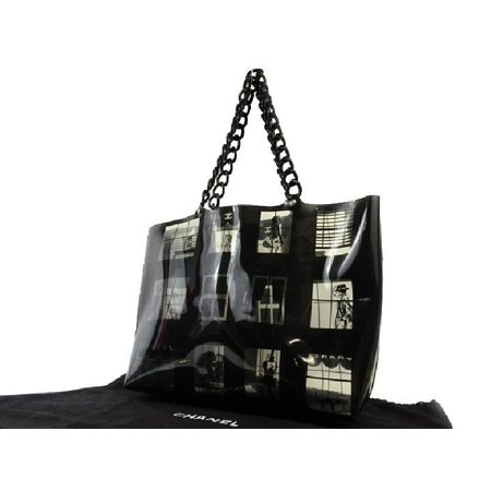 Chanel Window Chain 216298 Black X Clear Tote Bag